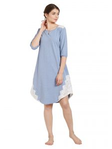 soie,unimod Sleep Wear For Women (Misc) - Soie Women's Crochet Lace Sleepshirt (Code - NT-76BLUE)
