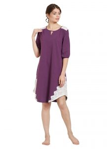soie,oviya Sleep Wear (Women's) - Soie Women's Crochet Lace Sleepshirt (Code - NT-76PURPLE)