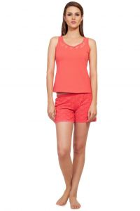Soie Orange Cotton / Spandex Night Suit For Women (code - Nt-9orange)