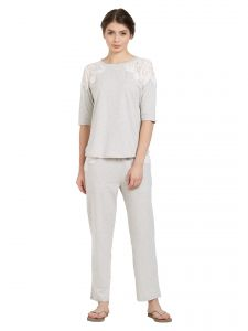lime,soie,avsar,unimod Sleep Wear (Women's) - Soie Women's Crochet Lace Top and Pyjama Set (Code - NT-75GREY)