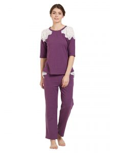 Soie,Port,Ag Women's Clothing - Soie Women's Crochet Lace Top and Pyjama Set (Code - NT-75PURPLE)