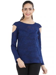 Soie Women's Cold Shoulder Top (Code - OL-01BLUE)
