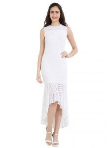 hoop,shonaya,soie,platinum,sukkhi,la intimo Western Dresses - Soie Women's Bodycon Dress (Code - OL-04OFF WHITE)