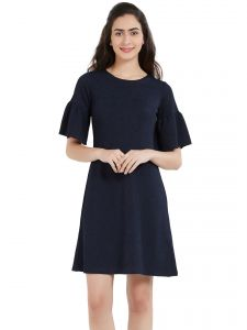 Hoop,Shonaya,Soie,Kaamastra,Unimod,Bikaw Women's Clothing - Soie Women's Ruffled Sleeve Dress (Code - OL-18N.BLUE)
