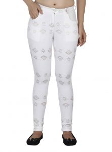 Hoop,Shonaya,Soie,Platinum,Flora,Kaamastra Jeggings - Soie Straight Cut Pant, Golden Touch To Embroidered Lace Fabric(Product Code)_P-03Off White_