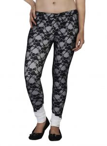 Hoop,Shonaya,Soie,Platinum,Flora,Kaamastra Jeggings - Soie Staright Cut Pant Embroidered Net Combined, Imported Poly Fabric(Product Code)_P-2Black_