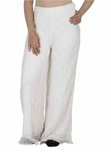Soie Palazzo Pants Embroidered Net Combined, Pre-pleated (product Code)_pz-03off White_