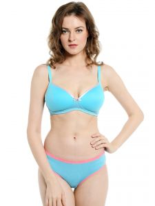 soie,unimod Lingerie Sets - Soie Everyday Non Wired Organic Cotton Padded Bra and matching panty (Code - SET 112+1112BUBBLE GUM)