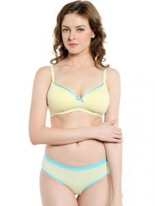 Soie Everyday Non Wired Organic Cotton Padded Bra And Matching Panty (Code - SET 112+1112)