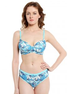 Soie Pixalated Print Non Wired Organic Cotton Padded Bra And Matching Panty (code - Set 114+1114p-4)