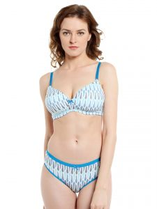 Soie Feather Print Non Wired Organic Cotton Padded Bra And Matching Panty (code - Set 115+1115p-5)