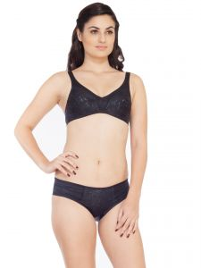 triveni,lime,flora,clovia,soie,mahi,hoop,avsar Apparels & Accessories - Soie Satin spandex fabric bra with matching panty (Code - SET 310+1310BLACK)