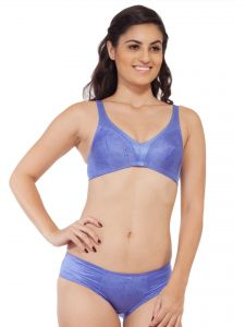 Soie Satin Spandex Fabric Bra With Matching Panty (code - Set 310+1310irish Eye)