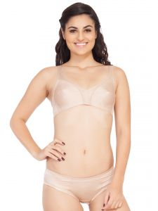 Triveni,Lime,Soie,See More,Kalazone Women's Clothing - Soie Satin spandex fabric bra with matching panty (Code - SET 310+1310SHEER TAUPE)