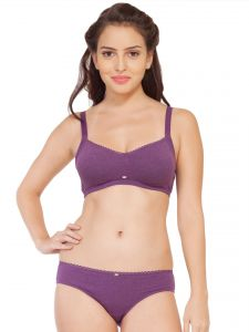 abae8646e1 Soie Cotton Spandex bra with matching panty (Code - SET 314+1314PURPLE  MELANGE)
