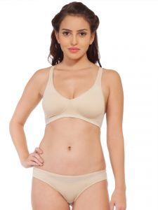 Jagdamba,Surat Diamonds,Jharjhar,Asmi,Soie,Lime,Kiara Women's Clothing - Soie Molded padded bra and matching panty (Code - SET 315+1315BEIGE)