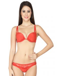 Soie,Flora,Fasense Women's Clothing - Soie Double Strap Push up Bra and Panty Set (Code - SET 514+1514RED)
