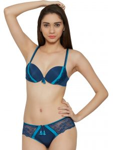 Vipul,Pick Pocket,Kaamastra,Soie,The Jewelbox,Cloe Lingerie - Soie Turquoise Contrast Pattern Sexy Push Up Bra and Panty Set (Code - SET 521+1521TURQUOISE)