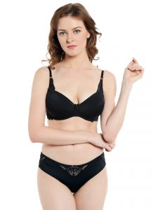 Soie Lingerie - Soie Black Balconette Lace Bra and Panty Set (Code - SET 523+1523BLACK)
