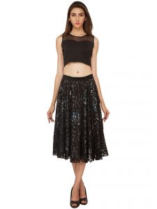 vipul,pick pocket,kaamastra,soie,asmi,diya,bagforever,kiara Skirts, Trousers - Soie Lace Fabric With Printed Lining Flared Skirt (Product Code - SK-32)