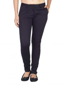 Kiara,The Jewelbox,Jpearls,Mahi,Soie Women's Clothing - Soie Mid-Waist Slim Fit Basic Trousers (Product Code)_T-9Black_