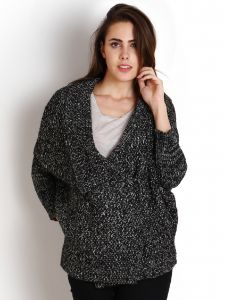 Soie Women's Clothing - Soie Loose Knit Shawl Collar, Double Breasted Cardigan(Product Code)_Ww-32Black+Grey_