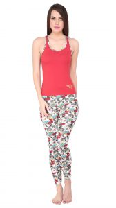 Night Suits - SOIE Multicolor Cotton Spandex Night Suit For Women (Code - WWO-6RED&WWN_AOP)
