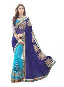 Georgette Sarees - Fabkaz Women Georgette Navy Blue+Sky Blue Colour Zari Embroidery Work With Lace Border Designer Saree - (Code - Fks178)