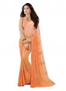 Orange Embroidered Chiffon Saree With Blouse (kms207-9007)