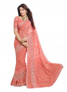 Peach Embroidered Chiffon Saree With Blouse (kms207-9004)