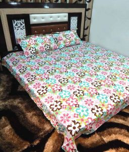 Peponi Multicolour Cotton Double Bedsheet With 2 Pillow Covers