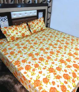 Peponi Yellow & Orange Cotton Double Bedsheet With 2 Pillow Covers