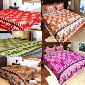 Peponi Multicolor Fleece Double Bed Super Lite Blanket Pack Of 5