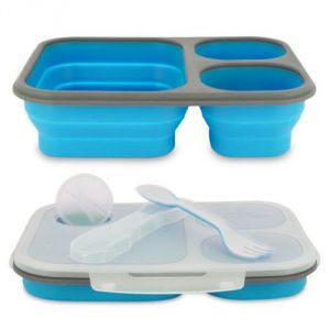 Aqua Polo Silicon Collapsible Blue Lunch Box