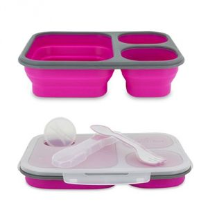 Aqua Polo Silicon Collapsible Pink Lunch Box