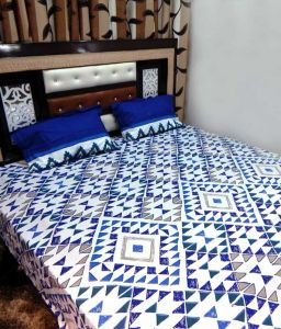 Peponi Blue & White Cotton Double Bedsheet With 2 Pillow Covers