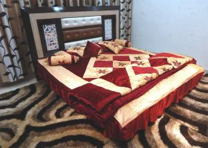Peponi Maroon Wedding Bedding Set 8 PCs (quilt, Double Bed Sheet, 2 Pillow Covers, 2 Filled Cushions, 2 Filled Bolster Covers)