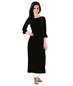 Kurtis - Kuber Women's A-Line Plain Round Neck 3/4 Sleeve Black Cotton Plain Kurti  (Product Code - A_44)