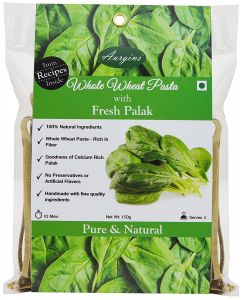 Pastas - Aurgins Whole Wheat Palak Pasta, Pack of 3 ( 150 g x 3 )