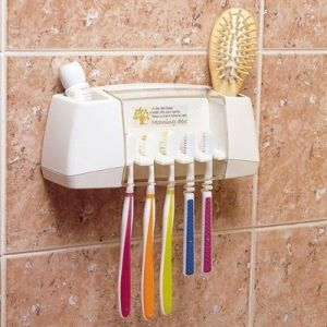 Wall Mounted Hygenic Toothbrush And Accessory Holder With Lid