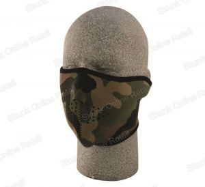 Neoprene Camouflace Reversible Army Bikers Half Face Mask With Velcro