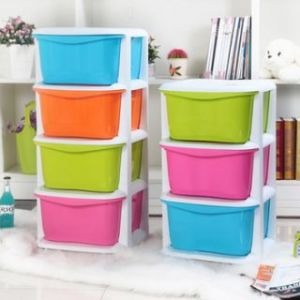Rack - Plastic Wall Shelf(number Of Shelves - 4, Green, Pink, Yellow, Blue