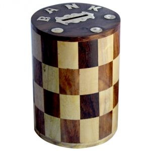 Wooden Handicrafts - Meddy craft Wooden Round Multi colour Piggy Bank