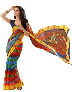 Vipul,Port,Oviya Women's Clothing - Vipul Branded Designer Georgette Catalog Saree(Product Code)_11148