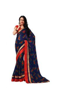 Vipul,Oviya Women's Clothing - Vipul Branded Designer Georgette Lace Border Catalog Saree(Product Code)_12119