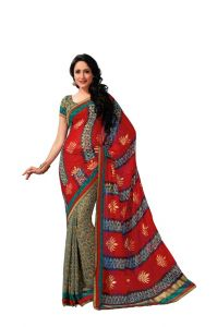 Vipul,Oviya Women's Clothing - Vipul Branded Designer Georgette Lace Border Catalog Saree(Product Code)_12126