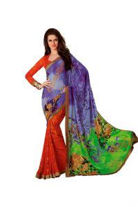 Vipul Chiffon Sarees - Vipul Branded Designer Chiffon Lace Border Catalog Saree(Product Code)_12618