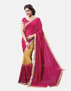 Vipul,Pick Pocket Women's Clothing - Vipul Womens Georgette Lace bordered Saree (Multicolor)(Product Code)_13711