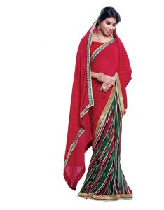 Vipul,Pick Pocket,Sparkles Women's Clothing - Vipul Womens Georgette Lace bordered Saree (Multicolor)(Product Code)_13713