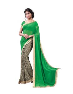 Vipul Women's Clothing - Vipul Womens Georgette Lace bordered Saree (Multicolor)(Product Code)_13714